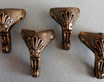 Small Brass Claw foot design Feet Vintage corner short legs Furniture Crafts Table 1.75 inches tall set of 4