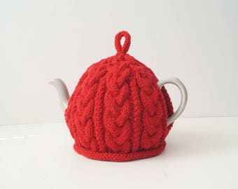 Knitted Red Tea Cosy Cover - BAILEY