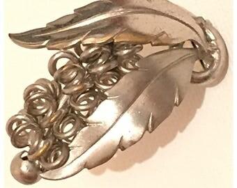 Vintage Dress Clip in Silver Tone Metal, Stylized Flower Dress Clip