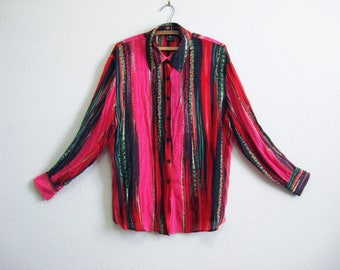 Griffith Gray for St. John Red Pink Silk Semi-Sheer Shirt Italy - Size 12 Medium Large