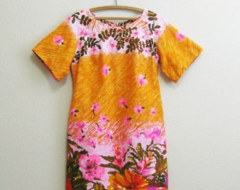Hawaiian Bark Cloth Dress Short Orange Pink Large 12 100% cotton