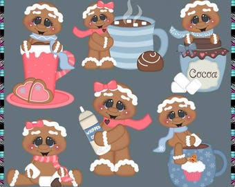 Cookies and Cocoa, Gingerbread, Holiday Gingers - Instant Download - Commercial Use Digital Clipart Elements Graphics Set