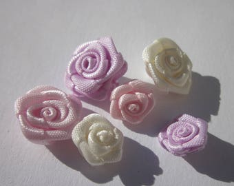 6 fabric bow in the shape of flower 10-14 mm (AD13)