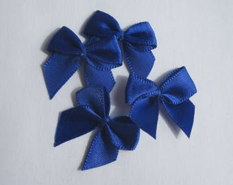 4 bows fabric satin blue 23x25mm - (A135)