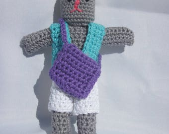 Bunny with his bag of 100% cotton 17cm high (1) hand made