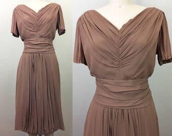 Vintage 40s 50s Mocha Silk Chiffon Dress w/ Belt M