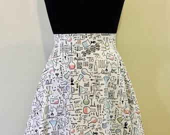 Chemistry Biology Physics Writing Science Nerd Geek Skirt