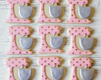 Custom Color Mixer & Gold Hearts Cookies -  1 Dozen Mixer Cookies. Stand Mixer Cookies, Kitchenaid Cookies, Baker Cookies
