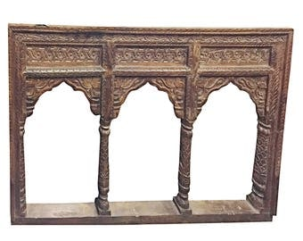 Antique JHAROKHA Arch Mirror Hand Carved, Decorative wall Hanging MIRROR Farmhouse Rustic Decor