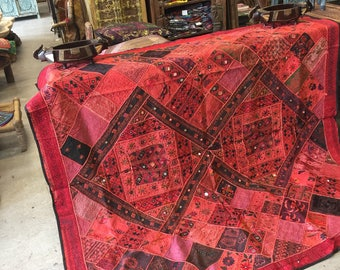 Antique Wall Hanging Hand Crafted RUG red Pink Mirror Artisan Crafted Wall Tapestry Embroidered Bohemian FREE SHIP Early Black Friday