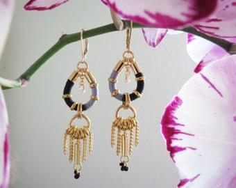 NEMA - ethnic chic earrings, black grey and gold earrings, statement earrings, delicate earrings, boho chic earrings, rope earrings, modern