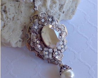 Aluna Necklace ~ Victorian, Pre Raphaelite, Art Nouveau-inspired, Ivory stone & pearl, OOAK, Romantic Bridal, Moonlight Garden necklace