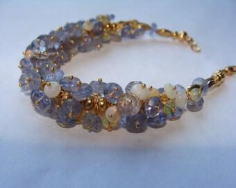 Iolite and Ethiopian Opal Bracelet in 14K Gold Vermeil Bracelet