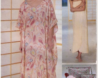 Butterick 6045 Misses' Caftan XS-XL, Wrap, Cosmetic Bags & Slippers Sewing Pattern