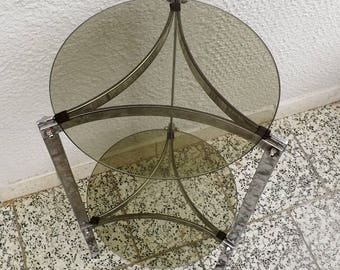Two tier table French mid century glass and chrome end table drinks table sofa table side table table d'appoint mid century home decor