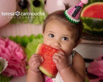 Watermelon Birthday Hat    First Birthday Party Hat    Girl Party Hat    Little Blue Olive   One In A Melon