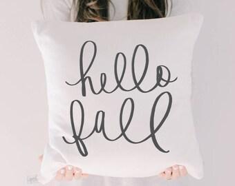 Throw Pillow - Hello Fall, calligraphy, home decor, fall decor, housewarming gift, cushion cover, throw pillow, seasonal pillow