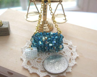 crystal handbag and purse gold plated chain 12th scale dollhouse  miniature