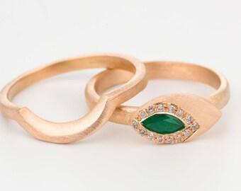 Emerald diamond ring, emerald engagement ring, 18k emerald ring, diamond wedding ring, gold stacking rings, edwardian ring, art deco ring