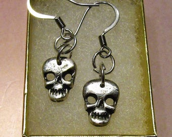 Skull face, halloween, skulls, skeleton, Fine Silver, .999 Pure Silver Earring Dangles, PMC, Precious Metal Clay Jewelry, Hypoallergenic