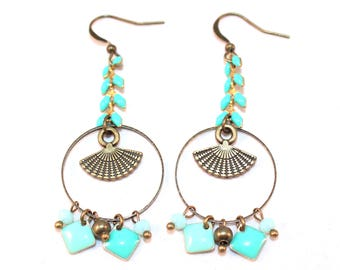Mint/turquoise fan and epoxy diamond spike chain earrings