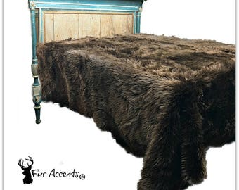 Plush Faux Fur Bedspread - Brown Bear -Shag Design - Designer Throws by Fur Accents USA