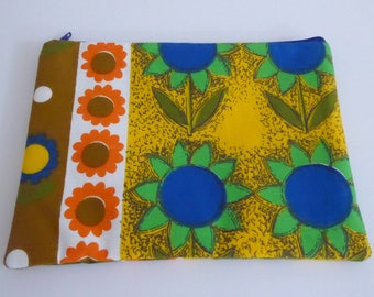 Zip pouch, small clutch, make up bag, handmade from vintage fabric