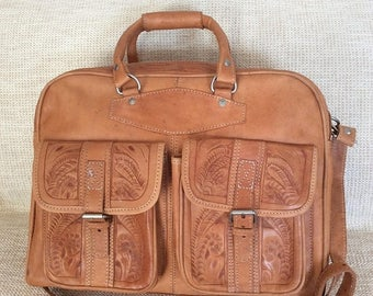 20% SUMMER SALE Stunning vintage genuine hand tooled natural leather duffle travel bag carry on