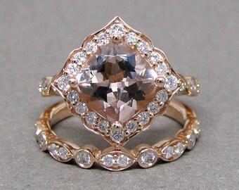 Cushion Morganite Engagement Ring Diamond Kite Set 14k Rose Gold Wedding Bridal Ring Set 8mm 2 3/5ct