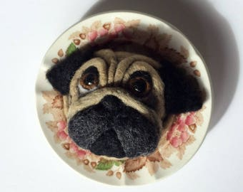 Needle Felted Pug Dog Puppy on Pretty Vintage China Saucer