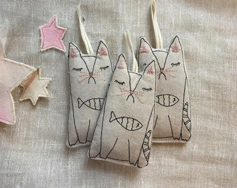 Machine Embroidered Cat Ornaments, Set of 3, Lavender Scented, READY TO SHIP, Sachets