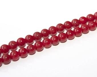 25 PCs. Jade - beads / 10 mm / red  EJA21-10