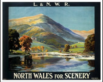Art Print Wales London North Western Railways LNWR 1920s Print A4