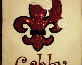 "Christmas Fleur De Lis Embroidery Design "" Instant Download"""