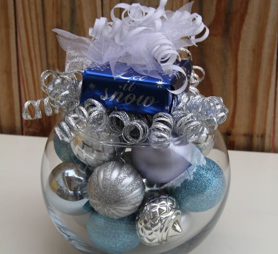 Blue Christmas Centerpieces : Christmas centerpiece silver and blue holiday decoration