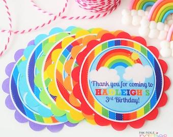 Rainbow Favor Tags, Rainbow Stickers, Rainbow Thank You, Rainbow Birthday, Rainbow Birthday Party, Rainbow Party Favors, Rainbow Party   413