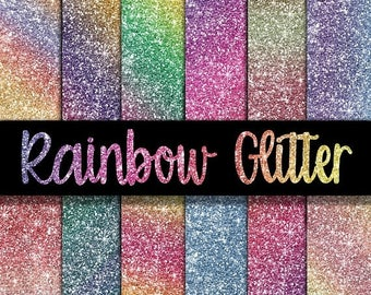 SALE- Rainbow Glitter Digital Paper - Glitter Textures - Glitter Backgrounds -  12 Colors - 12in x 12in - Commercial Use -  INSTANT DOWNLOAD