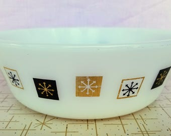 Around the Clock Inland Glass Casserole Atomic Snowflake Star Glow Black Gold