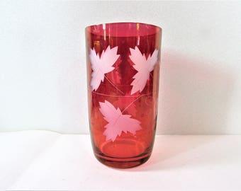 Cranberry Flashed Vase Grape and Leaf Etch