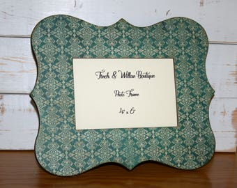 Turquoise and white frame, Picture frame, 4 x 6 Photo frame, Damask Decor