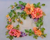 """Ribbon embroidery picture """"Little wreath """" Silk ribbon embroidery ribbon work ribbon embroidery art for frame 3D picture for wall"""
