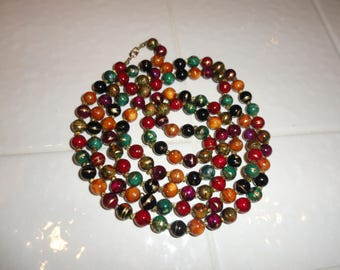 """60"""" Long Necklace. Multi Color Resin Beads . JCDADS . Gift . Stevie Nicks . Gypsy . Costume Necklace . Long Lightweight Necklace"""