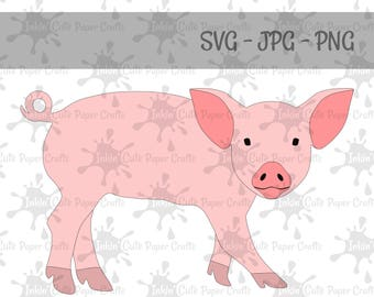 Pig Clipart, Pig SVG file, Pig Silhouette, Pig cut file, Pig PNG, Pig JPG, Farm Animal Clipart, Barnyard Animals, Farm Animal Cut File
