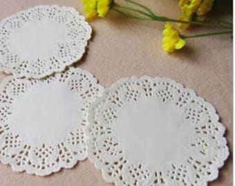 100x 3.5inch white lace paper doilies