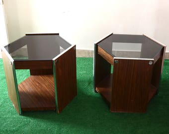 Pair of 70s walnut, chrome and smoked glass hexagonal end/side tables