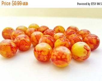 50% OFF Red and Yellow Round Glass Beads!!  10mm in Size.  20 Beads Per Order.   Fun and Funky!!   Great Beads At Great Prices!!
