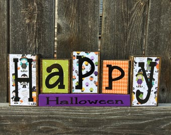 SALE--Happy Halloween wood blocks, Halloween  blocks, Halloween Decor