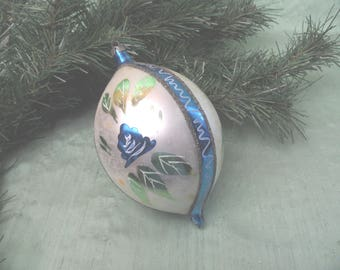 Large painted teardrop glass ornament in blue / vintage mercury glass bauble