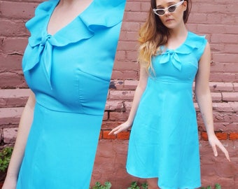 1960s Blue Sailor Dress
