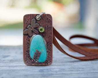 Campitos Turquoise Copper Necklace . Peridot . DragonFly . Hand Forged . Necklace.Rustic. Necklace. Mixed Metals